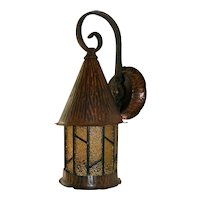 Vintage 13-inch Amber Paneled Copper Porch Light