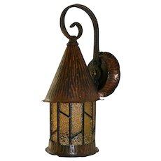 Vintage Amber Paneled Copper Porch Light