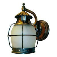 Single Vintage All Copper Caged Porch Light Fixture