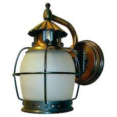 Single Vintage All Copper Caged Porch Light Fixture