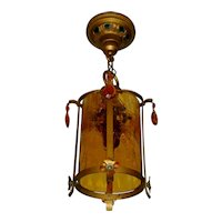 Moe Bridges Crackle Glass Lantern Hall Light