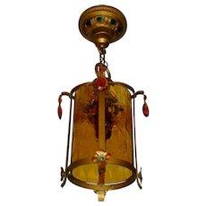 Moe Bridges Crackle Glass Lantern Hall Light