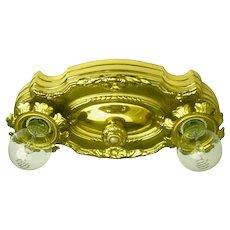 Vintage Polished Brass Two-light Flush Mount Light Fixture