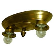 Pair Vintage Virden Brass 2-light Flush Mounts - Curves with out frills