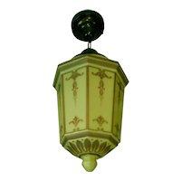 Pair Large Vintage Custard Glass  Pendant or Flush Mount  Light Fixtures