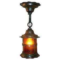 Antique Hammered Copper Lantern Porch Light