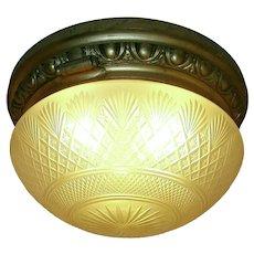 Large Antique Dome Style Flush Mount Light Fixture