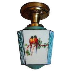 Colorful Pair Consolidated Glass Parrot Flush Mounts