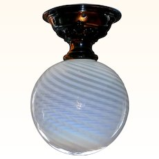 Antique Copper Ceiling Light with Blue Opalescent Swirl Glass Shade