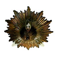 Magnificent Large Bronze Starburst Flush Mount Light Fixture