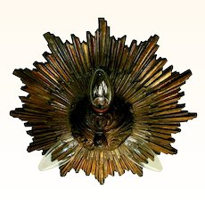 Large Bronze Starburst Flush Mount Light Fixture