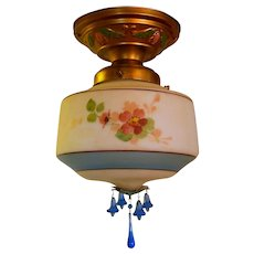Vintage Gill Glass Flush Mount - Rare Original Condition