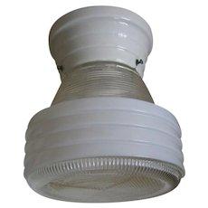 Vintage Art Deco White Porcelain Flush Mount Light