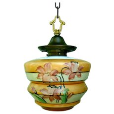 Large Hand Painted Art Deco Iris Pendant Light Fixture