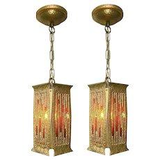 Pair Brutalist Style Pendant Lanterns by Moe Lighting