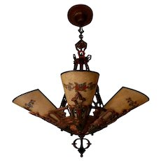 Lincoln 5-light Art Deco Slip Shade Chandelier