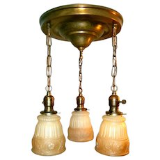 Three-light Neoclassical Antique Shower Fixture