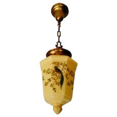 Antique Custard Glass Pendant with Blue Bird Decoration
