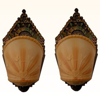 Vintage Pair Art Deco Slip Shade Sconces by R. Williamson