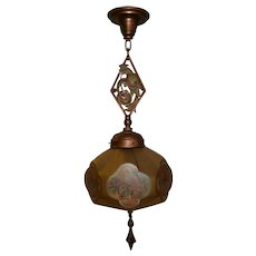 Bronze Art Deco Lightolier Parrot Pendant Light Fixture