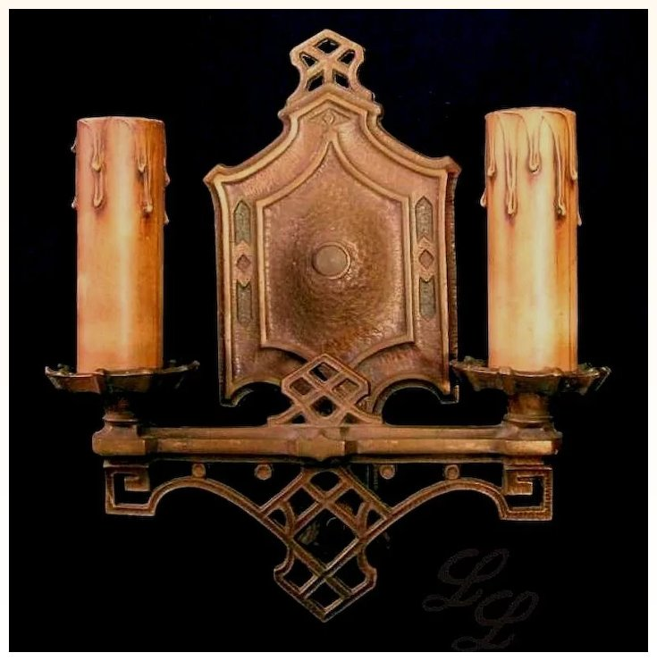 Vintage Pair Arts & Crafts Wall Sconce Light Fixtures : Lofty ...