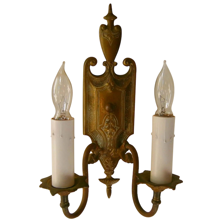 Pair Elegant Antique Federal Style Br Wall Sconce Light Fixtures