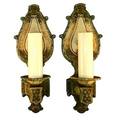 Vintage Pair Art Nouveau Single-candle Sconces