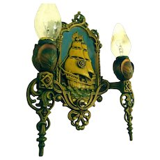Two Pair Lincoln Double Candle Iron Nautical Sconces