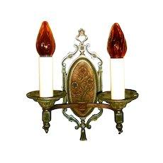 Pair Vintage Lion Double Candle Wall Sconces