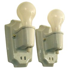 Pair Basic White Porcelain Bathroom Sconces with Turn off Switches