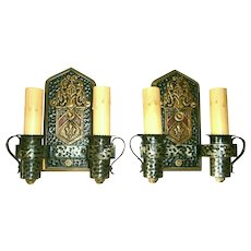 Pair Vintage Tudor Style Sconces by Moe Brothers