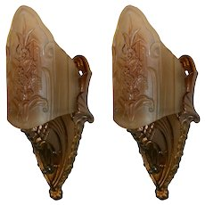 Midwest Art Deco Slip Shade Wall Sconces