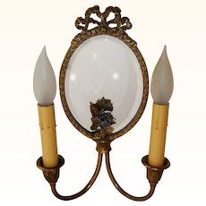 Lovely Pair of Dainty Mirrored Sconces