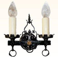 Vintage Pair Double-candle Tudor Wall Sconces
