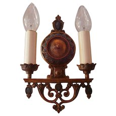 Exceptional High Quality Bronze Double Candle Sconce