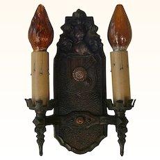 Set of Three Markel Cast Iron Tudor Style Sconces