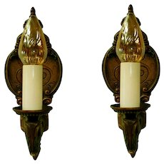 Pair Moe Bridges Single Candle Iron Wall Sconces