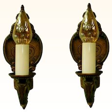 Pair Moe Bridges Single Candle Iron Wall Sconces