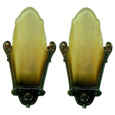 Pair 1930's Lincoln Slip Shade Wall Sconces