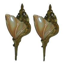 Art Deco Art Nouveau Slip Shade Wall Sconces