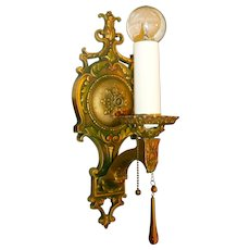 Spanish Revival Style Single-candle wall sconce pair