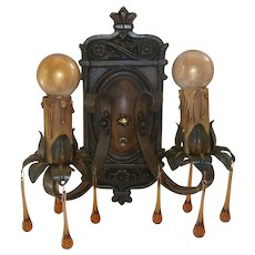 Pair Moe Bridges Iron Sconces with Amber Drops