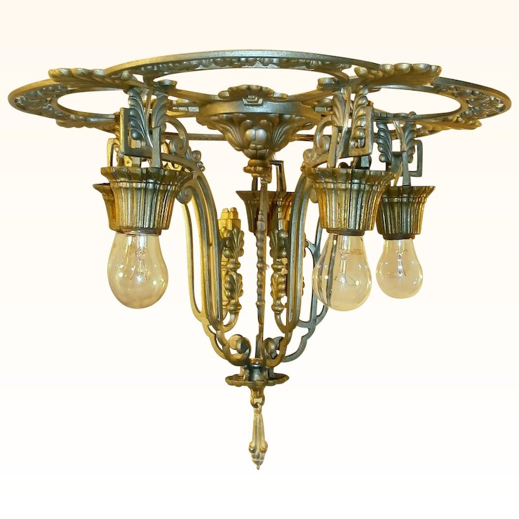 Vintage 5 Light Riddle Art Deco Chandelier With Sconces