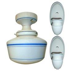 Vintage Set Alabax Porcelain Light Fixtures