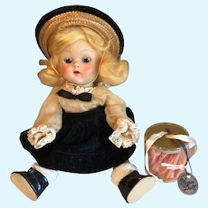 Ginny Doll 1952 Painted Lash with curler container