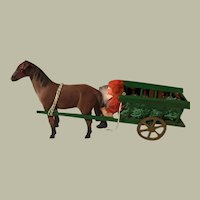 Santa in Horse Drawn Wagon with Gifts :  German