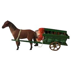 Santa in Horse Drawn Wagon with Gifts : Antique: German