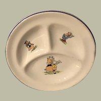 Disney 3 Little Pigs Child's Divided Plate, 1940's