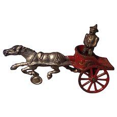 Hubley Cast Iron Toy Chariot With Clown Driver, 1906