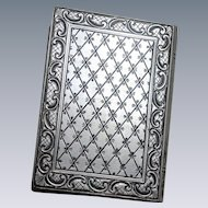 Unique 800 Silver Italian Compact Shaped Like a Book Vintage and Minty With Hand Etched Detail